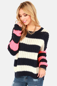 Give 'em the Switch Navy, Ivory, and Neon Coral Striped Sweater at Lulus.com!