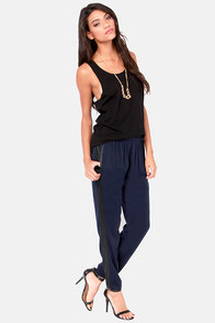 Chill Out Cropped Black and Navy Blue Pants