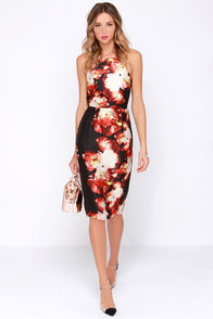 Front Rose Seats Black and Red Floral Print Midi Dress at Lulus.com!