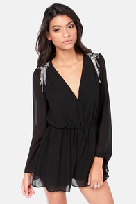 Let's Bead Friends Beaded Black Romper at Lulus.com!
