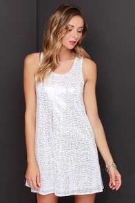 Arctic Fox White and Silver Sequin Dress at Lulus.com!