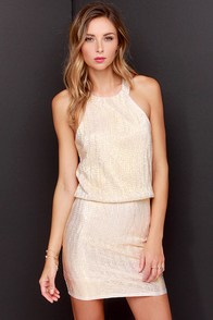 Tiny Dazzler Gold Halter Dress at Lulus.com!