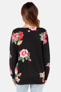 Billabong Petal Daze Black Floral Print Sweater at Lulus.com!