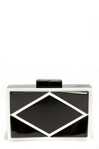 National Geometric Black and Ivory Clutch at Lulus.com!