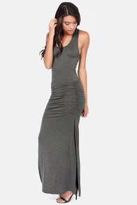 Ruche Hour Dark Grey Maxi Dress at Lulus.com!