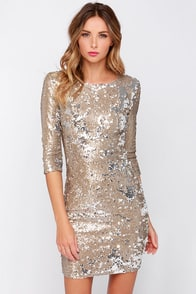 TFNC Paris Gold Sequin Dress at Lulus.com!