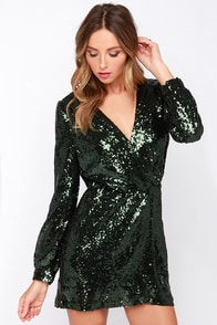 Today's the Daze Olive Green Sequin Dress at Lulus.com!