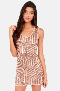 Opulence is Bliss Rose Gold Sequin Dress at Lulus.com!