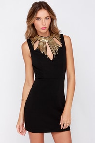 Queen of Sequin Black and Gold Sequin Dress at Lulus.com!