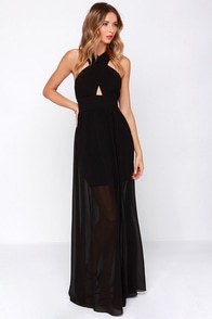 Gown for the Count Black Maxi Dress at Lulus.com!