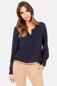 In It to Win It Long Sleeve Navy Blue Top at Lulus.com!