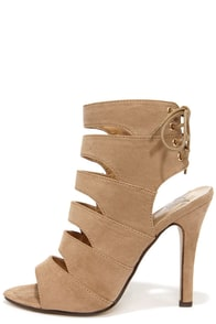 Gam Session Taupe Suede Cutout High Heel Booties at Lulus.com!
