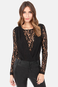 Haute Stuff Black Lace Bodysuit at Lulus.com!