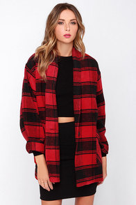 Lumber Jane Red Plaid Coat at Lulus.com!