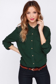 Obey Cadet Forest Green Button-Up Top at Lulus.com!