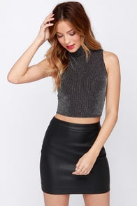 Mock Trial Black and Silver Striped Crop Top at Lulus.com!