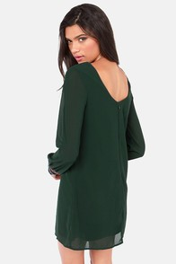 Bead Reputation Dark Green Shift Dress at Lulus.com!