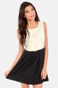 Let It Snow Beaded Cream and Black Dress at Lulus.com!