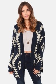 Southwest Sweetheart Beige and Navy Blue Print Cardigan Sweater at Lulus.com!