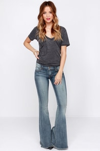 Livin' on a Flare Distressed Medium Wash Flare Jeans at Lulus.com!