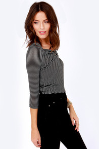 Near and Noir White and Black Striped Top at Lulus.com!