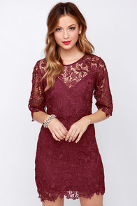 Department of Floristry Burgundy Floral Lace Dress at Lulus.com!