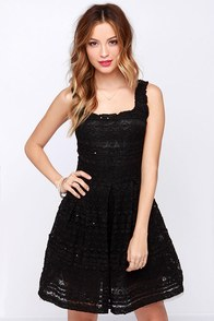 Dance to the Music Black Lace Dress at Lulus.com!