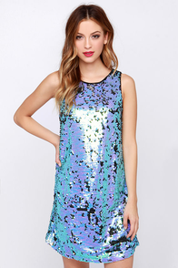 In a Flurry Aqua and Lavender Sequin Dress at Lulus.com!