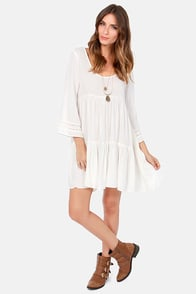 Billabong Cats Game Ivory Baby Doll Dress at Lulus.com!