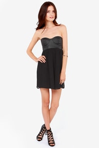 Billabong Somewhere Outback Strapless Black Bustier Dress at Lulus.com!