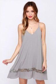 Just Getting Started Grey Lace Dress at Lulus.com!