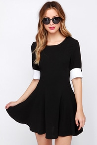 Drive Me Mod Ivory and Black Dress at Lulus.com!