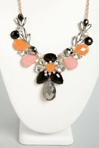 Gleaming Gumdrops Orange and Black Rhinestone Necklace at Lulus.com!