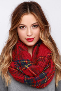 Pardon My Scotch Red Plaid Infinity Scarf at Lulus.com!