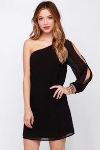 Side of Cute Black One Shoulder Dress at Lulus.com!