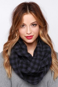 Country Club Caddy Navy Blue Plaid Infinity Scarf at Lulus.com!