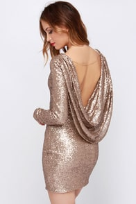 Crossed the Line Gold Sequin Dress at Lulus.com!