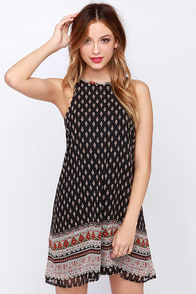 Mediterranean Escape Black Print Dress at Lulus.com!