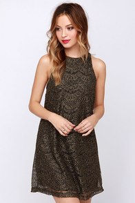 Galaxy Ya Later Black and Gold Dress at Lulus.com!