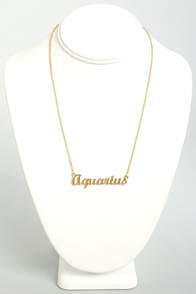 Zodiac Attack Gold Aquarius Necklace at Lulus.com!