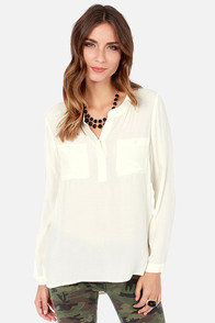 In It to Win It Long Sleeve Cream Top at Lulus.com!