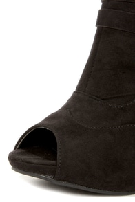 Shoe Republic LA Balman Black Suede Peep Toe Booties at Lulus.com!