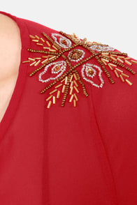 Get a Move on Beaded Red Top at Lulus.com!