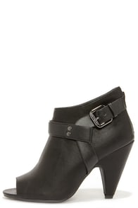 Free Reign Black Peep Toe Booties at Lulus.com!