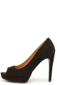Chinese Laundry Hypnotize Black Suede Peep Toe Platform Pumps at Lulus.com!
