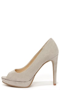 Chinese Laundry Hypnotize Grey Suede Peep Toe Platform Pumps at Lulus.com!