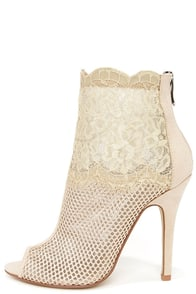 Chinese Laundry Jeopardy Nude Mesh and Lace Booties at Lulus.com!
