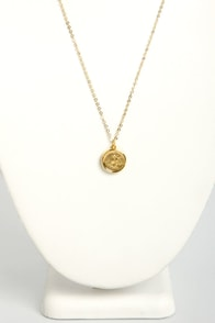 Just My Typewriter Gold J Necklace at Lulus.com!