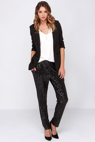 Once in a Lifetime Black Sequin Pants at Lulus.com!