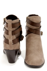 City Classified Verda Taupe Nubuck Suede Belted Ankle Boots at Lulus.com!